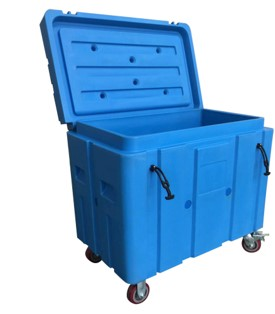 Blue rolling tote